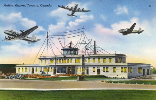 Malton Airport, Toronto : this picture was evidently made when air traffic control was in its rudimentary stage... Date: 1930s