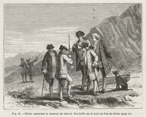 Perier checks the results of Torricelli's barometer experiment on the summit of the Puy-de-Dome, France. Torricelli devised the earliest form in 1643
