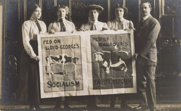 Tory supporters displaying a poster against Lloyd George's socialist policies