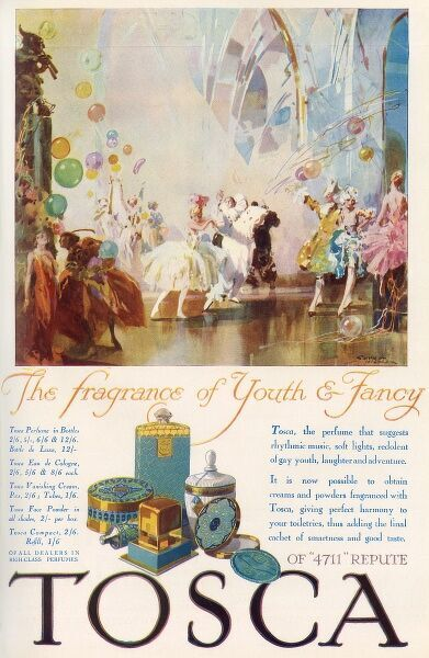 The illustration features a light and airy ballroom filled with balloons and dancers in costume, including, centrally, a Pierrot. A collection of gold and turquoise Tosca products are situated underneath. Date: 1929
