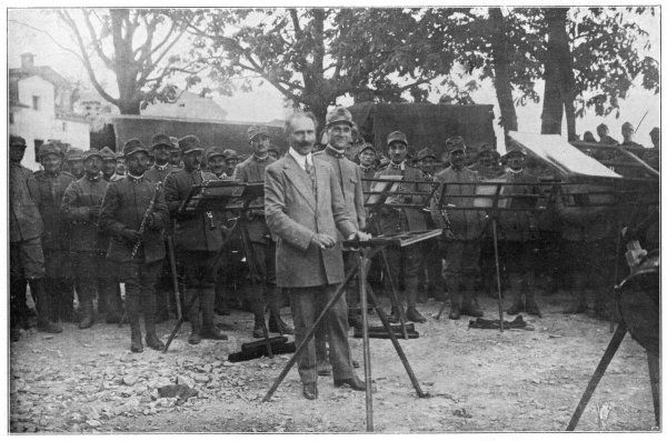 ARTURO TOSCANINI Italian conductor, known for his dynamic style - seen here with a military band on Monte Santo, a few days after the August 1917 offensive