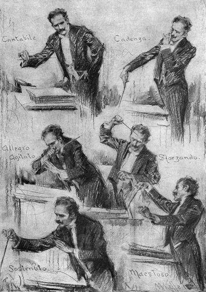 Characteristic poses of musician Arturo Toscanini(1867-1957)while conducting. Date: 1912