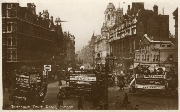 Busy traffic on Tottenham Court Road, London at the junction with Oxford Street (looking north). Date: 1913