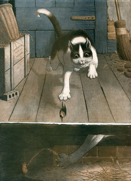 A mouse foils its feline foe by disappearing through a hole in the floorboard and tickling the cat's paw with a stalk of wheat. Date: 1911