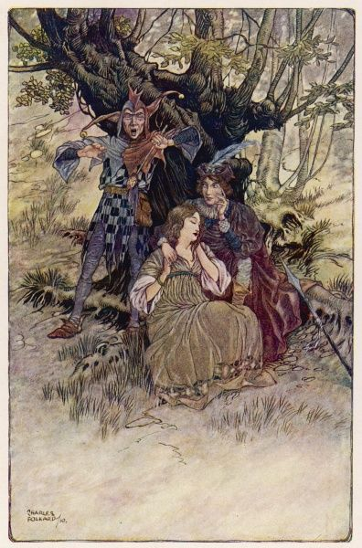 Touchstone with Celia and Rosalind, in the Forest of Arden, tired with travel