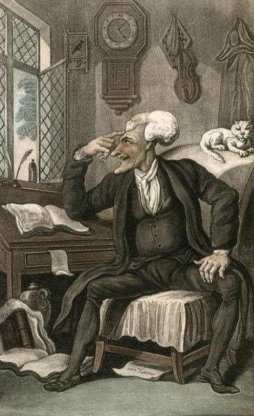 Dr Syntax sits at his desk, planning his next trip. Date: 1813