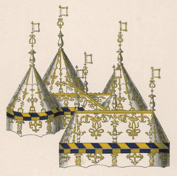 A representation of the tents at a tournament (possibly designed for Henry VIII for the Field of the Cloth of Gold)