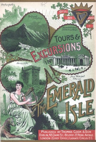 Cover illustration for Tours and Excursions in the Emerald Isle (Ireland), with Thomas Cook & Son of Dublin, Belfast and London. Above a harpist is a montage of Irish landmarks -- Dunluce Castle, The Giant's Causeway, The Bank of Ireland