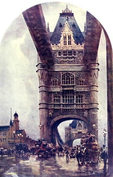 Painting showing Tower Bridge, London, 1918