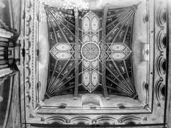 View of the ornately decorated tower ceiling above the choir, St David's Cathedral, St David's, Pembrokeshire, South Wales