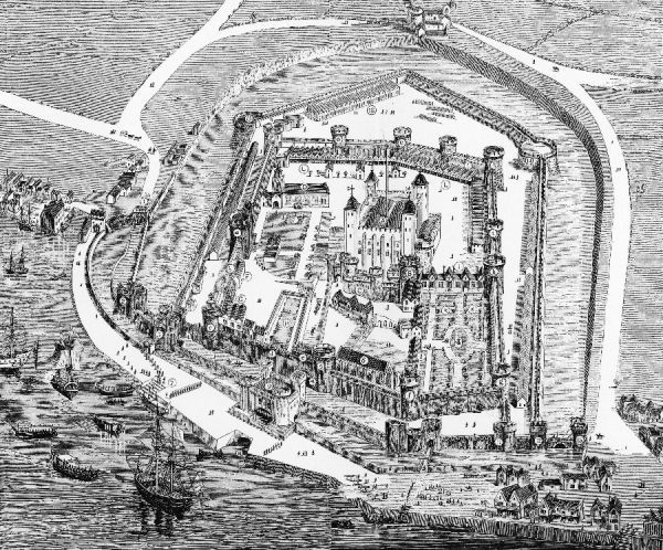 A bird's-eye view of the Tower of London during the reign of Queen Elizabeth