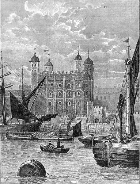 Engraving showing the White Tower, Tower of London, with sailing barges in the foreground in the River Thames, 1883