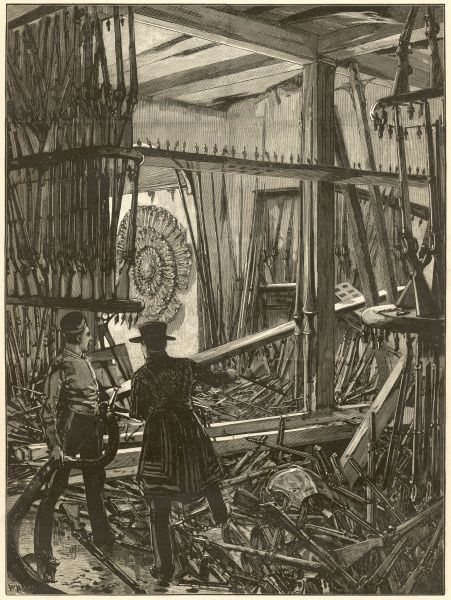 The scene after an explosion in the White Tower at the Tower of London. The attack was carried out by Fenians, one of a number of similar attacks by the Irish Nationalists in 1885. On the same day another bomb was exploded at the House of Commons