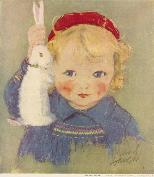 A cheeky little girl with blonde curly hair, a red beret and a sweet smocked dress holds up her toy bunny rabbit for all to see. Date: c.1930