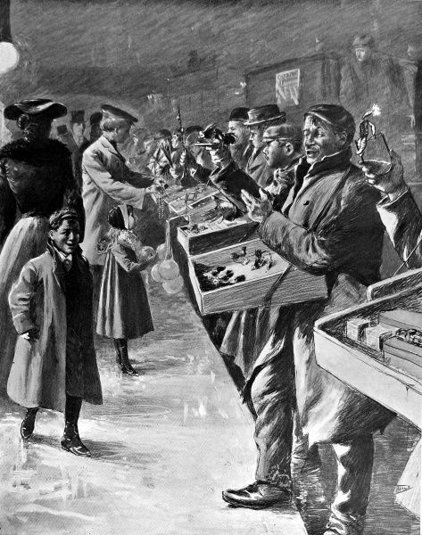 Illustration showing street salesmen offering penny toys to passers-by, Ludgate Hill, London, December 1904