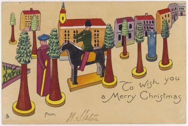 Toys on the front of a Christmas postcard