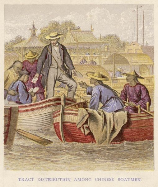 An English gentlemen distributes Christian religious tracts among boatmen in China