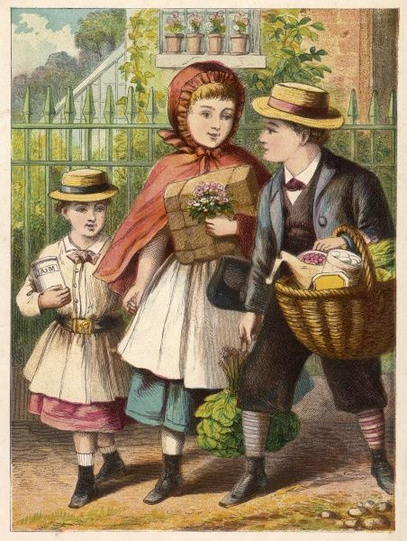 Children return from a visit to the shops