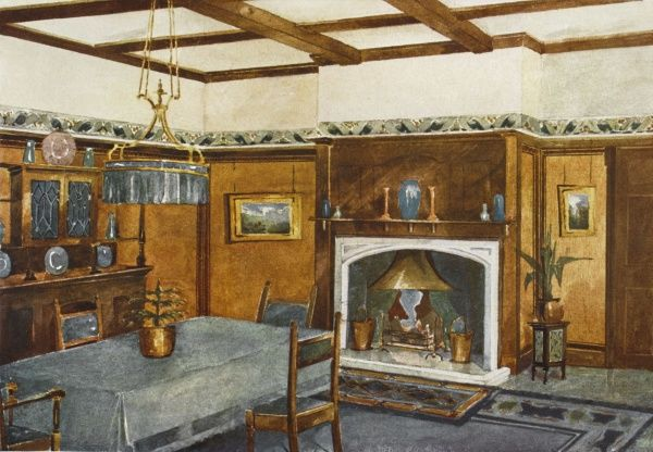 A dining room in the traditional style, complete with fire place and sideboard