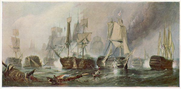 The Battle of Trafalgar and the victory of Lord Nelson over the combined French and Spanish fleets