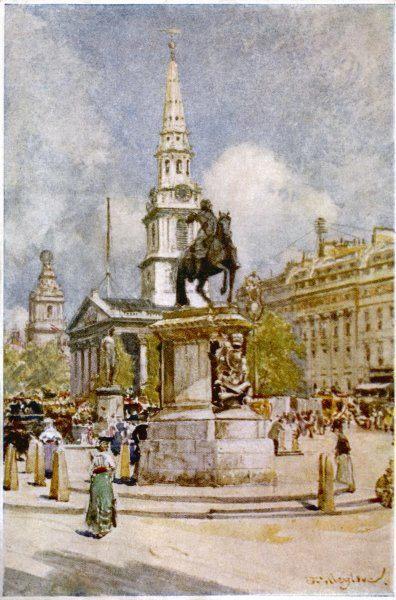 Charles I statue at Charing Cross. In the background is the church of St Martin in the Fields