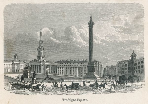 Trafalgar Square before the lions came