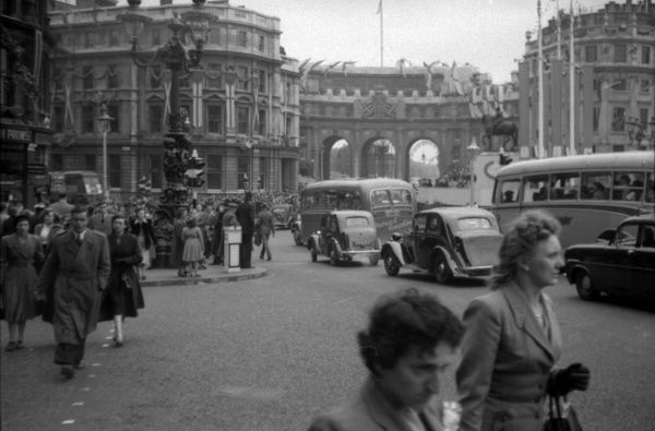 Trafalgar Square looking through Admiralty Arch along The Mall. Photograph taken on the day of the 1953 Coronation Derby at Epsom