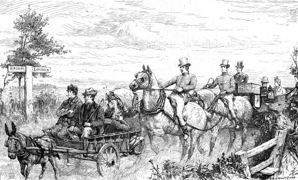 Engraving showing the scene on the London to Epsom road as 'Joe Muggins' donkey carriage halts the progress of the four horse carriage behind, 1889