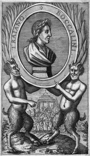 TRAIANO BOCCALINI Italian satirist - his portrait supported, appropriately enough, by a pair of satyrs. Date: 1556 - 1613