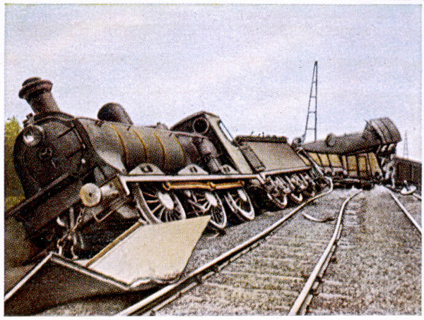 A German supply train, having been derailed by Belgians