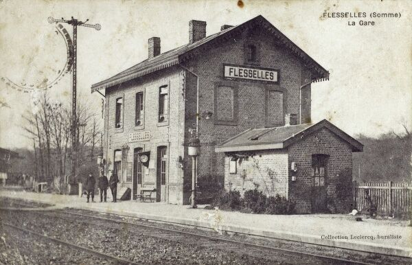 The Train Station at Flesselles in the Somme department in Picardie in northern France. Date: circa 1910