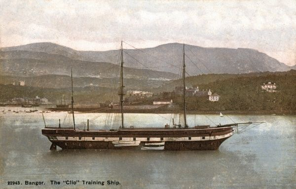 The Training Ship Clio, moored off Bangor in the Menai Straits, North Wales, was established in 1877 by the City of Chester and Border Counties Training Ship Society