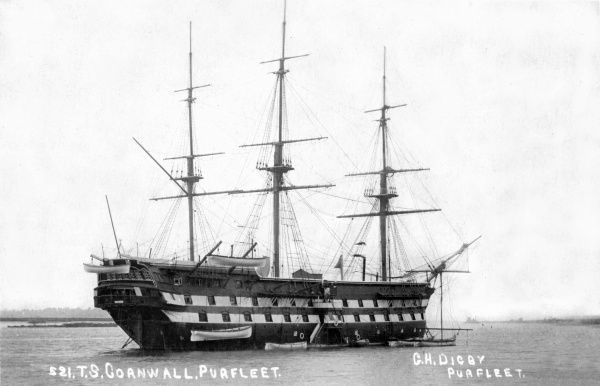 The Training Ship Cornwall was established on the River Thames at Purfleet, Essex, in 1859 by the School Ship Society as a boys' reformatory establishment. In 1868, a replacement vessel took on the name and remained at Purfleet until moving to Denton
