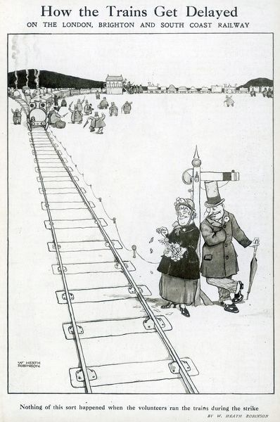 A courting couple are oblivious to the delay they are causing on the London, Brighton and South Coast Railway. Please note: Credit must appear as Courtesy of the Estate of Mrs J.C.Robinson/Pollinger Ltd/ILN/Mary Evan&quot
