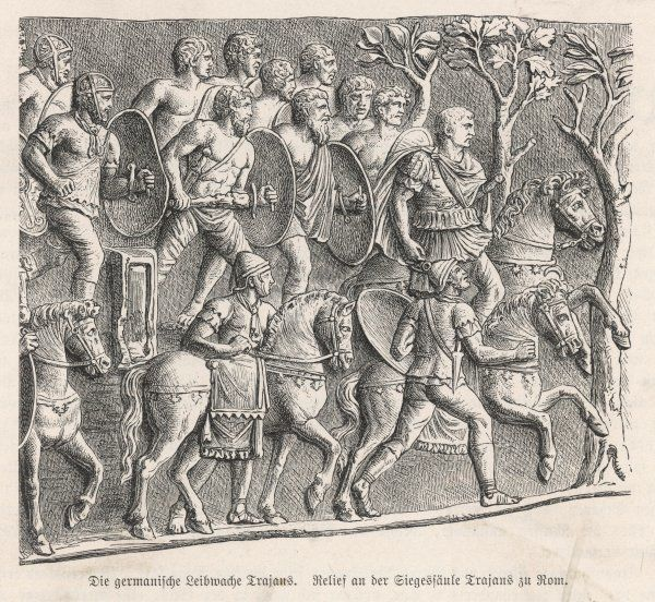 The emperor Trajan rises through the German forest, accompanied by his bodyguard