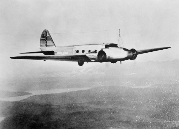 A Trans-Atlantic aeroplane in flight. Date: 1930s