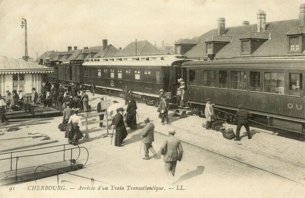 The arrival of the Transatlantic Train at Cherbourg, France, Cherbourg was the principal point at which the large Transatlantic liners left France for North America. The Titanic arrived at Cherbourg on her maiden voyage on 10th April 1912. Date