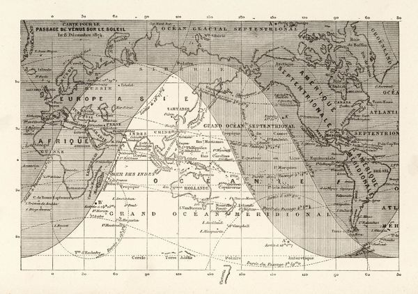 A diagram showing the areas of the world which will be able to view the transit of Venus across the face of the sun on the 8th December 1874