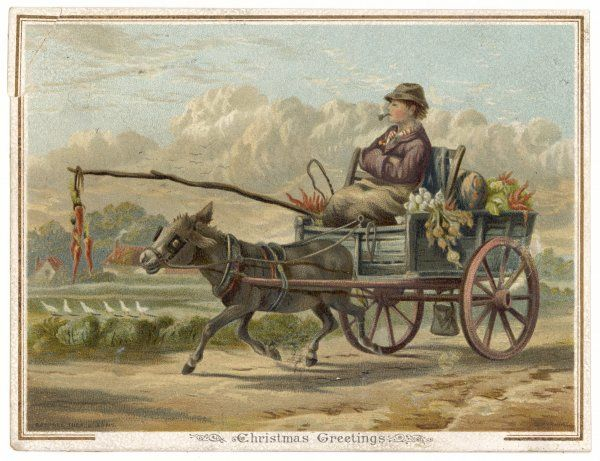 A farmer goes to market on a cart pulled by a donkey. He dangles three carrots on a stick, to keep the speed up