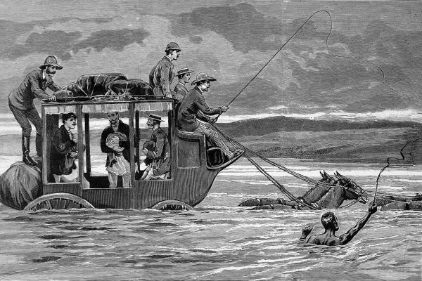 Crossing the Wilge river, the quickest method of transport to the gold fields of Transvaal