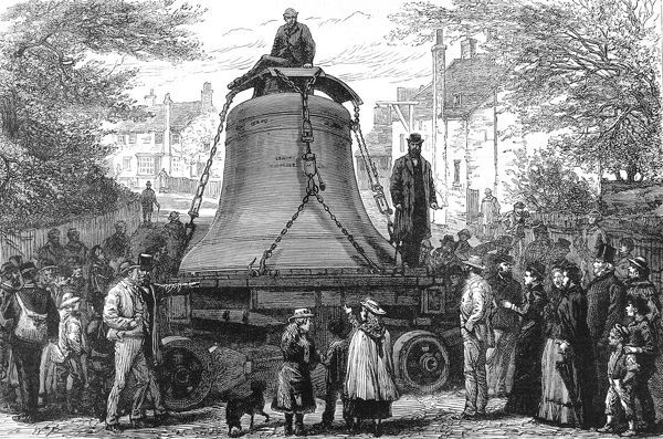 Engraving showing the Great Bell of St. Paul's Cathedral being transported by traction engine from Loughborough to London, 1882