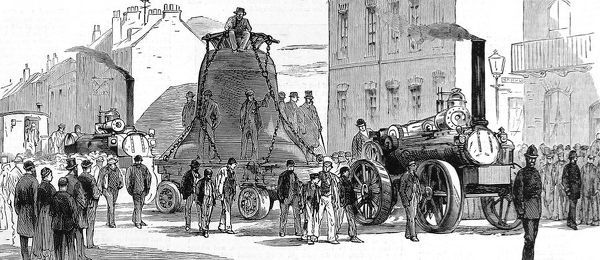 Engraving showing the transport of a 'Great Bell' or tenor bell from Loughborough to St. Paul's Cathedral, London, 1882. This bell, which required a large traction engine to transport, weighed approximately 62 cwt