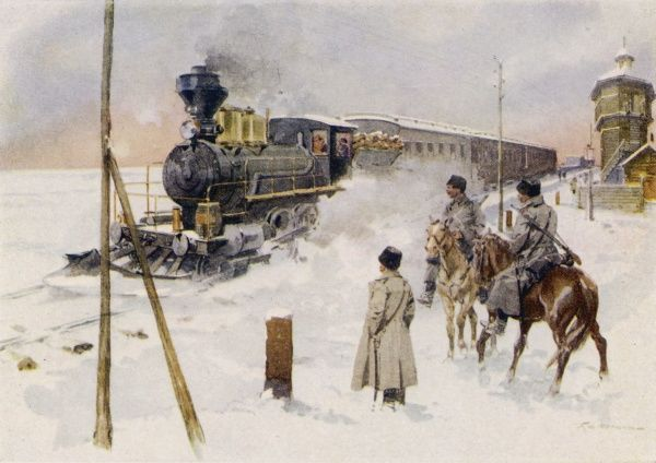 Mounted soldiers at a crossing watch a train of the Trans- Siberian Railway steams through the snow