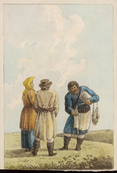 Two Russian travelers are refreshed when they encounter an itinerant vendor of liquid refreshment (presumably water or a cold drink of some kind)