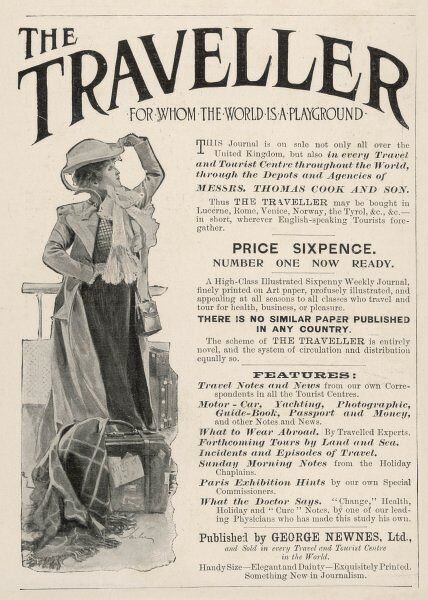 "Advertisement for ""The Traveller"", sold not only in the United Kingdom, but also ""in every Travel and Tourist Centre throughout the World through Thomas Cook&quot"