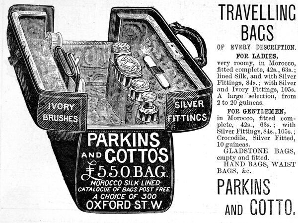 An advertisement for Parkings and Gotto, bag and luggage specialists, based in Oxford Street, with an illustration of a lady's travelling bag or vanity case