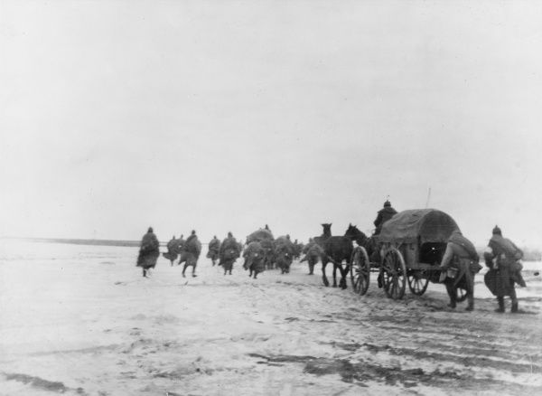 En route to Tureno (Naroez lake) on the Eastern Front during World War I