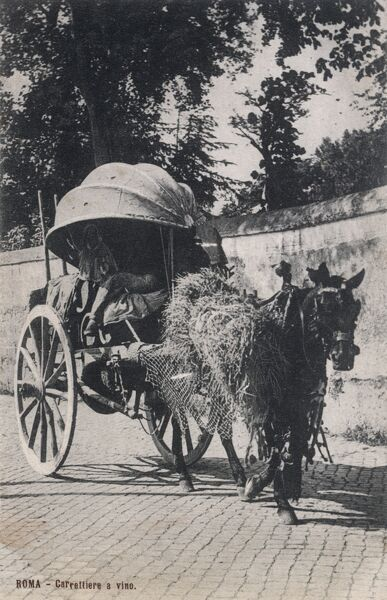 Travelling wine seller/delivery operative in his small covered cart - Rome, Italy Date: circa 1910