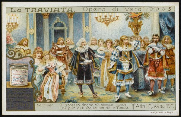 Act two, scene 19 : at Flora's ball, Alfredo's father rebukes his behaviour, and the Baron, Violetta's former protector, challenges him to a duel