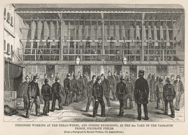 Prisoners working at the treadmill and others exercising in the vagrants' prison, Coldbath Fields. The first treadmill was installed in Brixton Prison in 1817